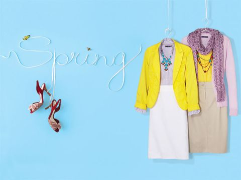 spring cardigans and skirts against a blue background