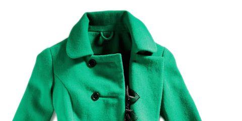 green coat and black dress