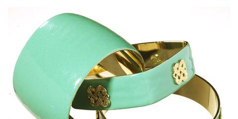 mint green and gold enamel bracelets