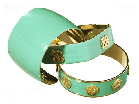 mint green and gold enamel bracelets