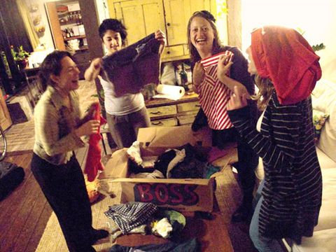 group of women at a clothing swap