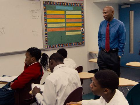 teacher in a classroom from the movie waiting for superman