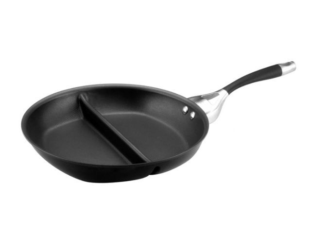 black skillet with partition in center