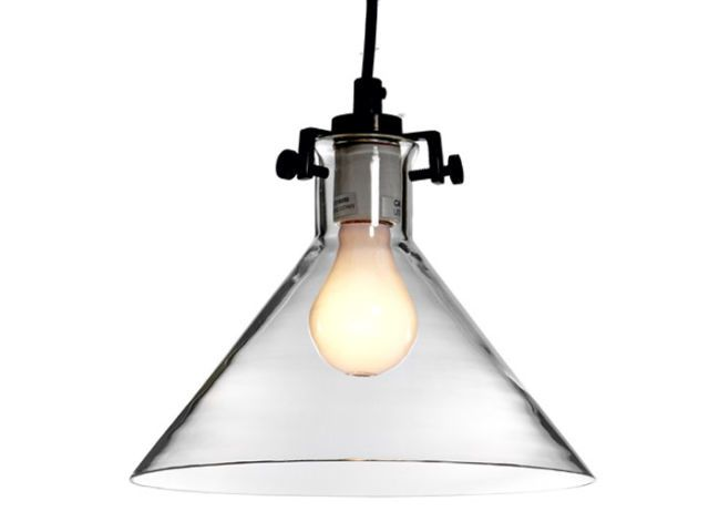 clear hanging lamp with black cord