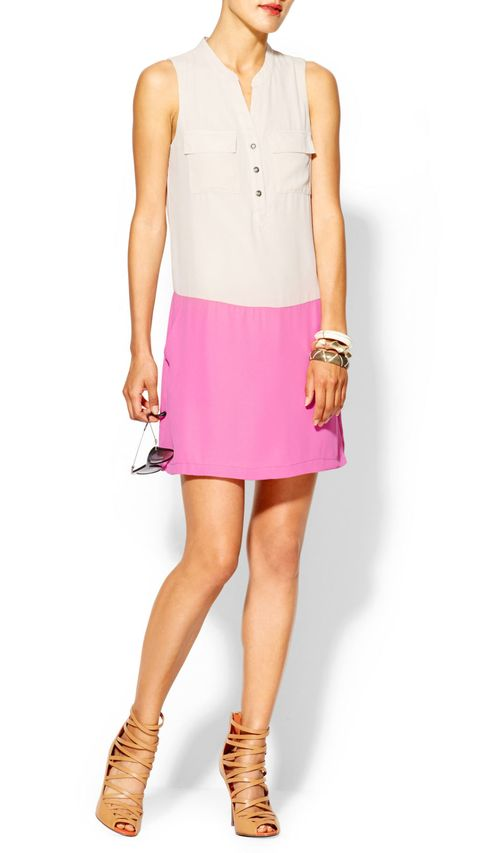 colorblock keyhole dress