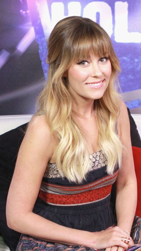 lauren conrad with thick bangs and wavy ombre hair