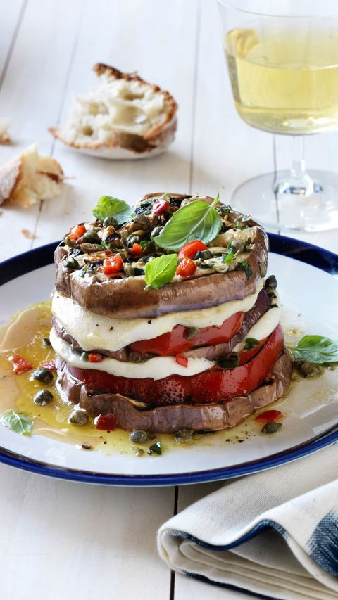 Italian eggplant, pepper, and mozzarella stacks