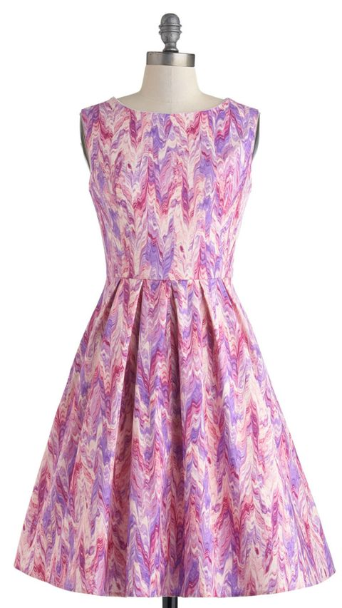 pink and purple a-line dress