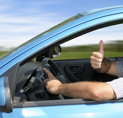 man driving fast