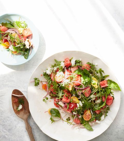 Tomato, watermelon, and kale salad