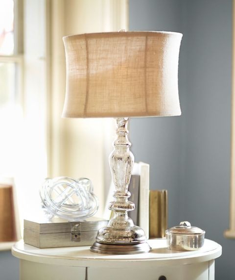silver lamp with beige lampshade