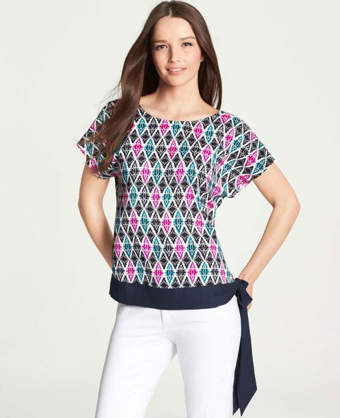 ikat pattern shirt with side tie