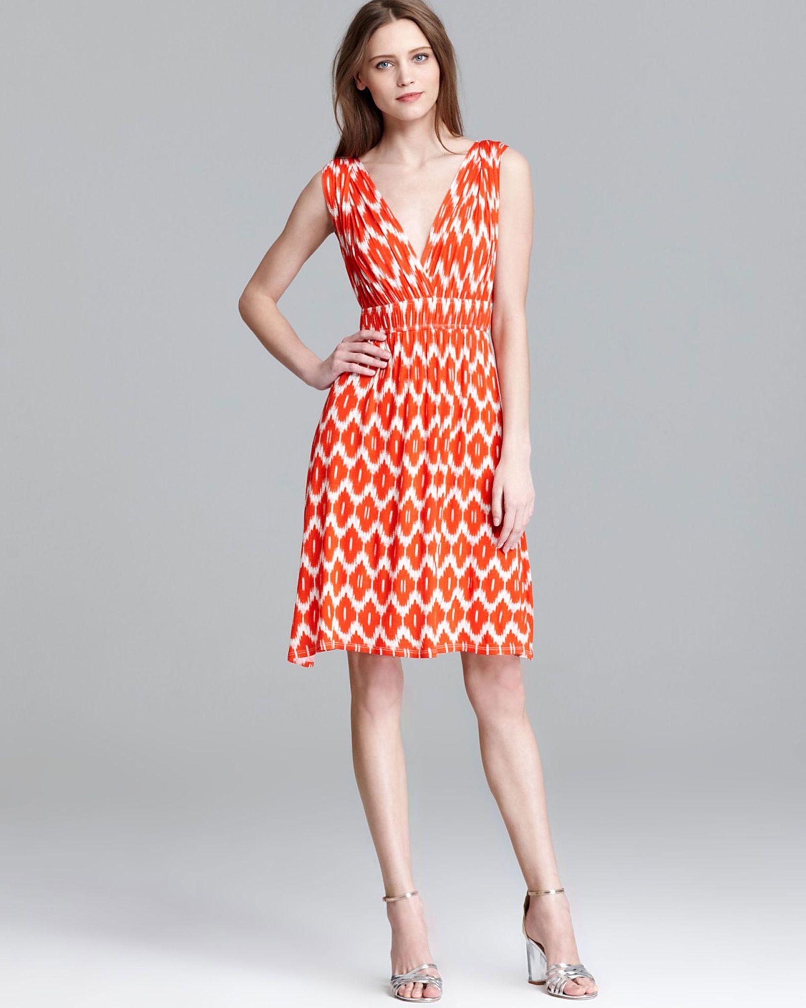 orange patterned summer dress