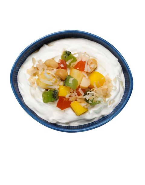 Tropical crunch yogurt topping