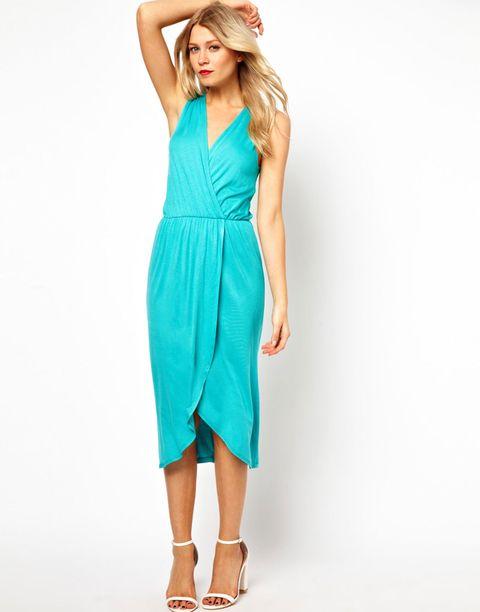 teal summer wrap dress