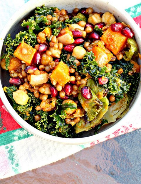 Garlic-roasted butternut squash and kale wheat berry salad