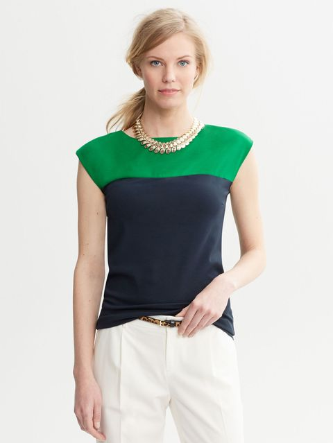 green and navy contrast top
