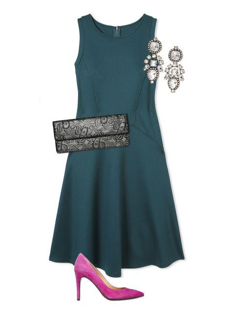 Sleeve, Dress, Textile, Formal wear, Style, One-piece garment, Pattern, Teal, Day dress, Fashion,