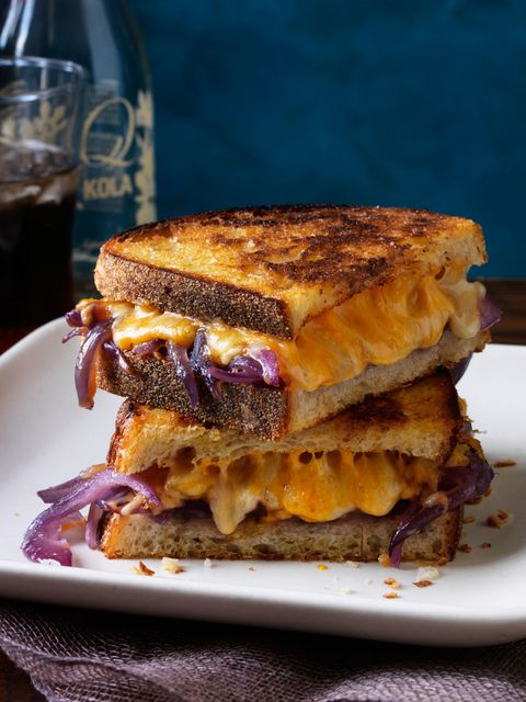 Grilled cheese with bourbon melted onions