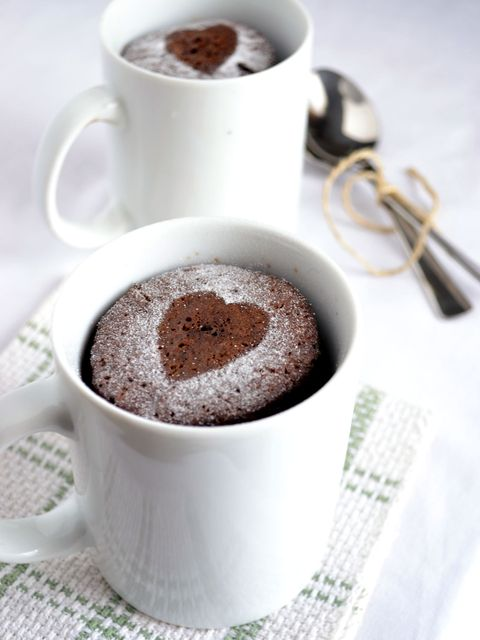 chocolate espresso mug cake with heart