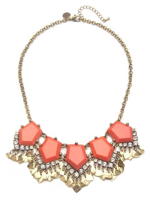 coral stone metal drop necklace