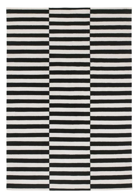 black and white striped rug