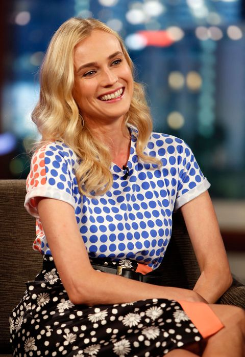 diane kruger wearing mixed printed top and skirt