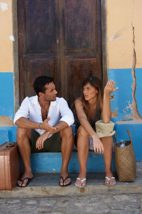 couple arguing on vacation
