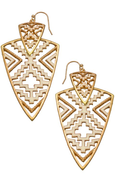 Blu Bijoux White Enamel and Gold Arrowhead Earrings