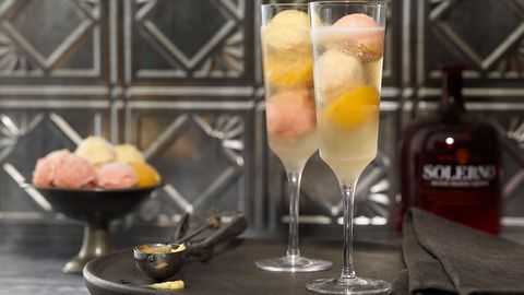 cocktail glasses with sorbet and liquor