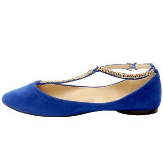 cobalt t-strap flats with gold chain detailing