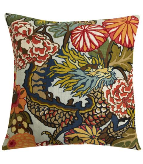 Schumacher Chiang Mai Dragon fabric pillow