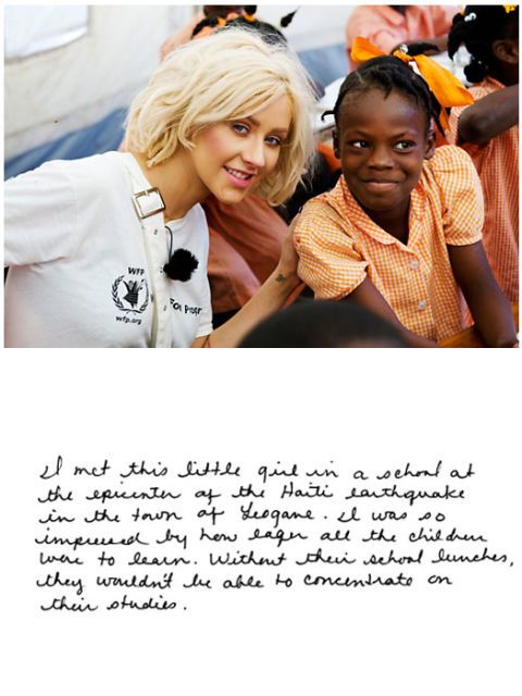christina aguilera in haiti with a child