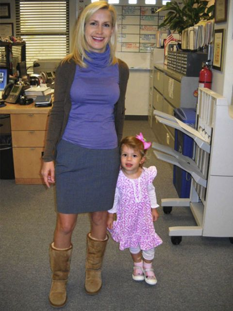 angela kinsey and daughter on the office set