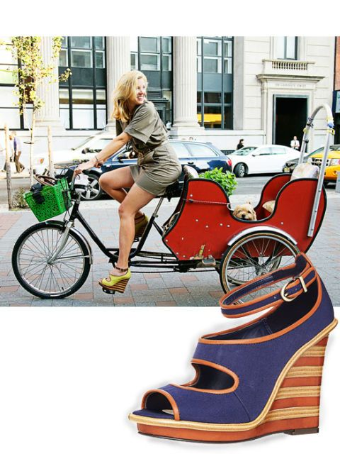 lela rose on bike wearing wedges