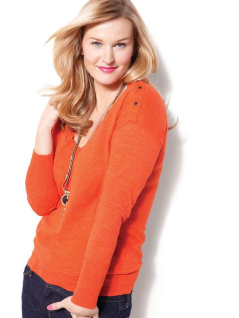 bright orange sweater