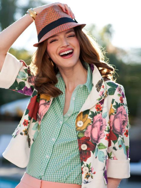 floral coat and gingham fedora