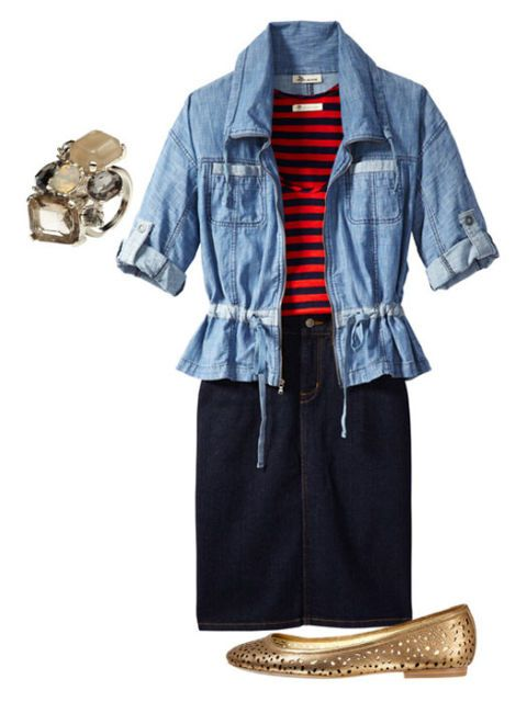 bright stripes and accessories with denim