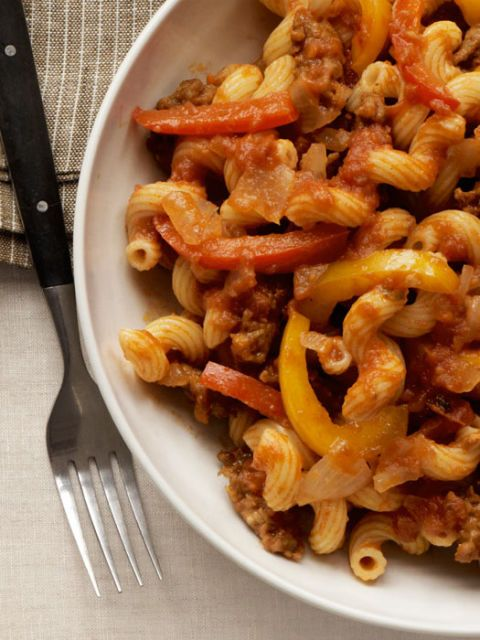 cavatappi with sausage peppers and onions