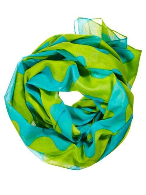 green and blue scarf