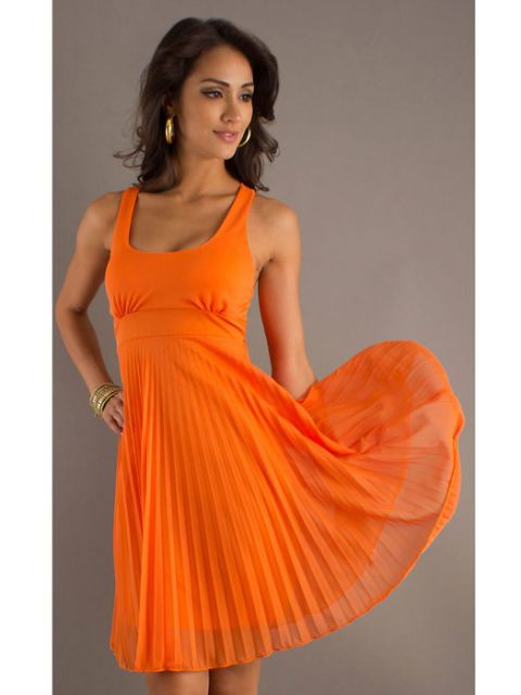 Clothing, Shoulder, Dress, Orange, Joint, One-piece garment, Formal wear, Amber, Cocktail dress, Day dress,