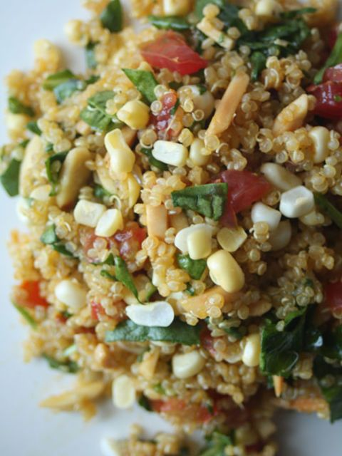 Sweet Corn & Chopped Spinach Quinoa Salad with Lime Vinaigrette