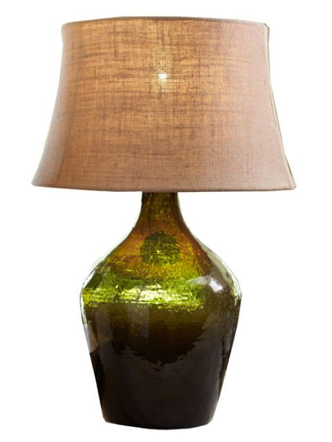 Glass bottle table lamp