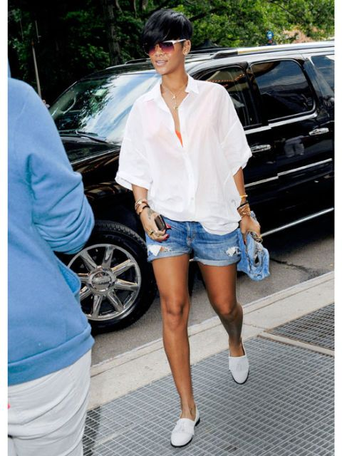 Rhianna wearing loafers
