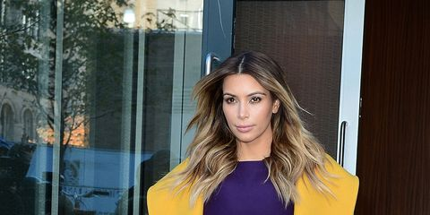 Kim Kardashian, colored coat