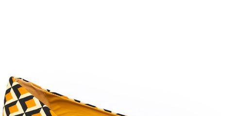 yellow white and black geometric patterened ballerina flat