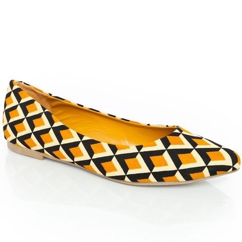 yellow white and black geometric patterened ballerina flat