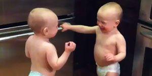 Baby twins talking video