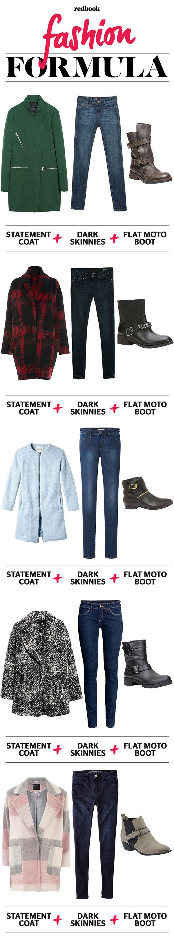 Statement Coat Skinny Jeans And Moto Boots Winter Outfit Ideas