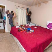 Bed, Room, Floor, Interior design, Property, Textile, Bedding, Bedroom, Flooring, Linens,